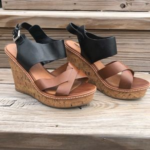 Mossimo black/brown wedges ; size 9